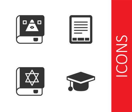 Set Graduation cap, Ancient magic book, Jewish torah and E-Book reader icon. Vector