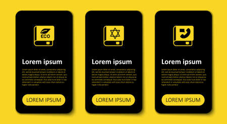 Set Phone book, Jewish torah and Book about ecology. Business infographic template. Vector Vektorové ilustrace