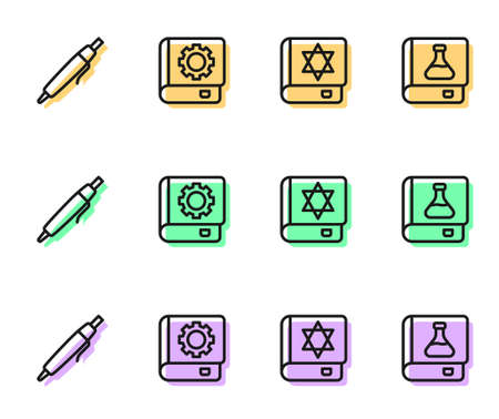 Set line Jewish torah book, Pen, User manual and Chemistry icon. Vector