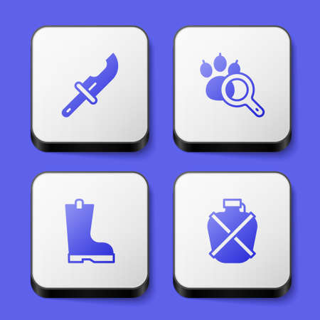 Set Hunter knife, Paw search, Waterproof rubber boot and Canteen water bottle icon. White square button. Vector