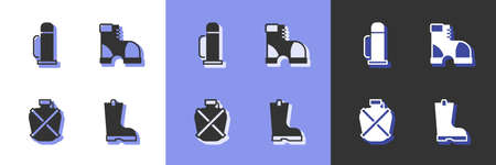 Set Waterproof rubber boot, flask container, Canteen water bottle and Hunter boots icon. Vector