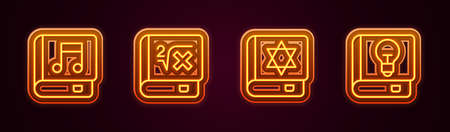 Set line Audio book, Book with mathematics, Jewish torah and User manual. Glowing neon icon. Vector