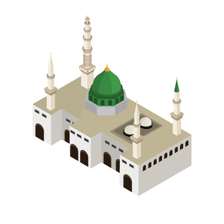 Hajj Isometric Illustration, Nabawi Mosque 3D vector