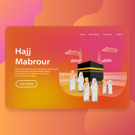 Hajj Mabrour Landing Page Web Template UI Design Illustration
