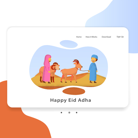 Happy Eid Adha Landing Page For Web Template Illustration