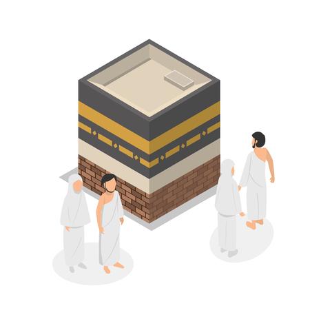 Illustration of Tawaf, one part of Hajj Isometric Illustration