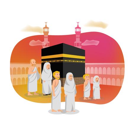 Tarjeta Islámica Saludo Ilustración Hajj Peregrinación Musulmana Ilustración de vector