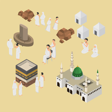 Isometric Illustration of Hajj Muslim Pilgrimage on 3D vector Infographic