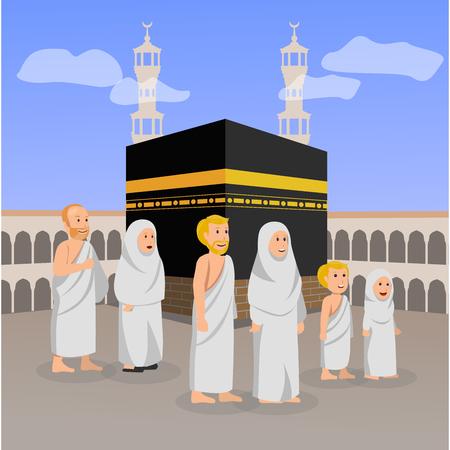 Set Illustration of European Moslem During Hajj Around Kaaba Vector Cartoon