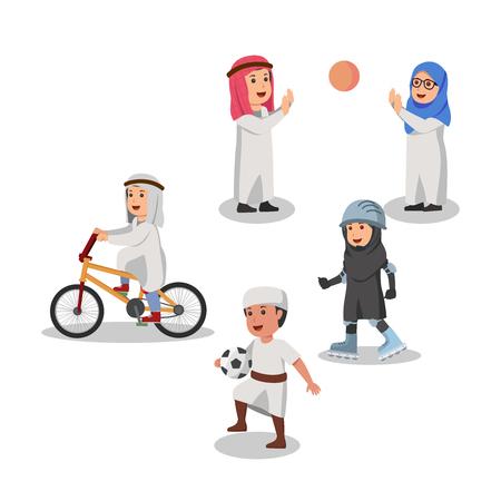 Set of Arabian Children Sport Vector Cartoon Illustration Illustration