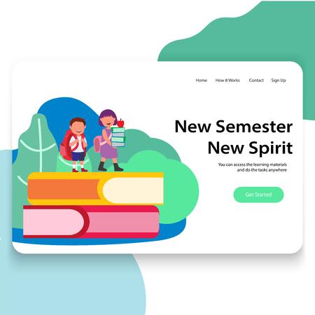 New Semester Promoted Next Grade Illustration Landing Page UI design Vettoriali