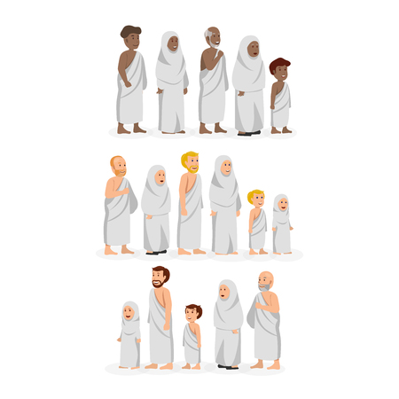 Set of Character Wearing Ihram, hajj clothing Muslims of various ethnicities Vector Illustration