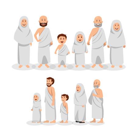 Conjunto de familia musulmana con Ihram, ilustración de dibujos animados de vector de peregrinación islámica (Hajj)