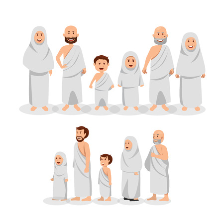 Set of Muslim Family Wearing Ihram, Islamic Pilgrimage (Hajj) Vector Cartoon Illustration
