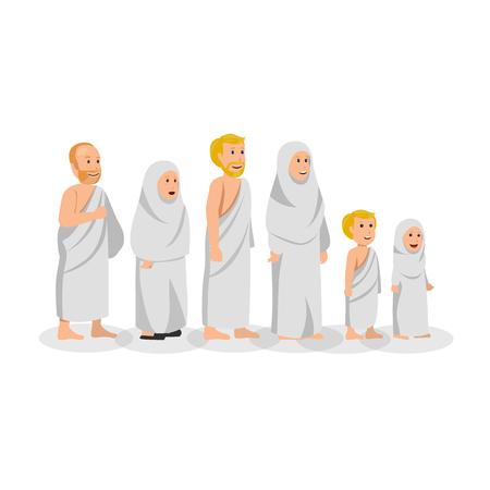 Conjunto de musulmanes en Hajj con dibujos animados de vector islámico Ihram Ilustración de vector