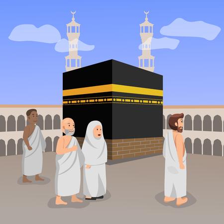 Hajj (peregrinación) oración islámica en Macca ilustración vectorial de dibujos animados