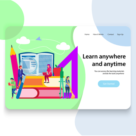 Education Landing Page Template Design, Vector Illustration