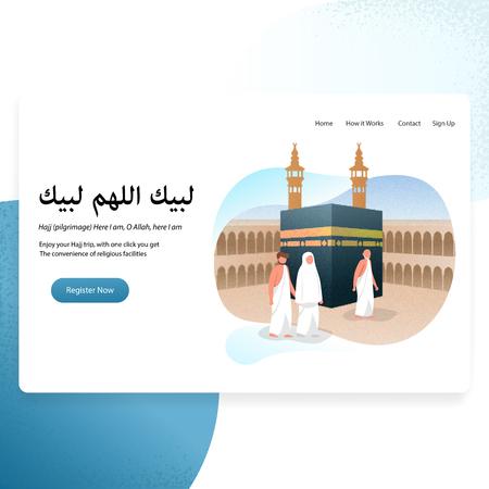 Hajj  Meaning Muslim Pilgrimage to Mecca Landing Page Illustration