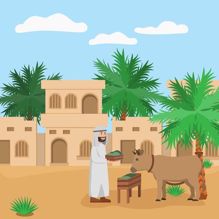 Eid Adha Mubarrak Arabian Man Feeding Animal Noble Behaviour to Animal, Islamic Cartoon Illustration