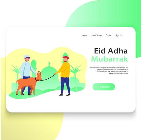 Eid Adha Web Landing Page Template Design Illustration Sacrifice Animals