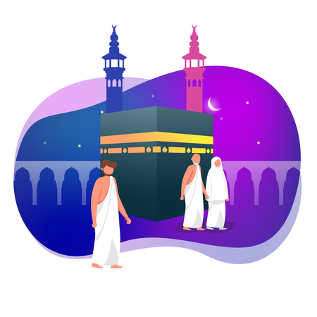 Hajj Greeting Muslim Around Kaaba Islamic Vector Illustration