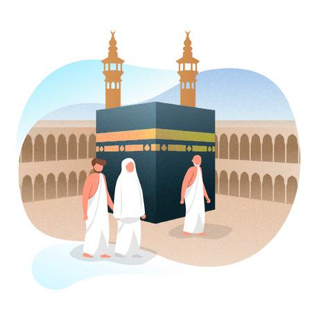 Hajj Muslim Around Kaaba Islamic Greeting Vector Illustration