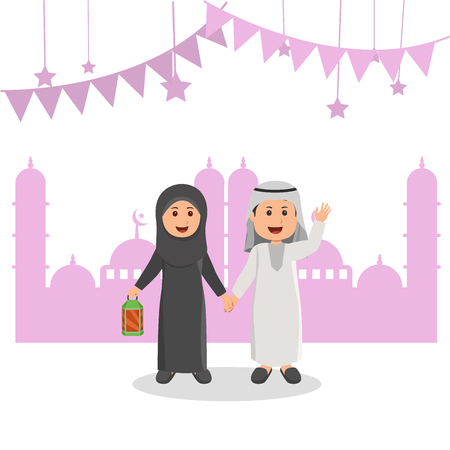 Cute Arabian Muslim Kids Illustration, Ramadhan Greeting Cartoon