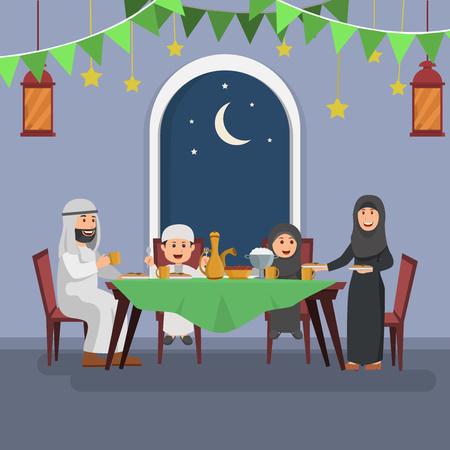 Basic Happy Arabian Family Enjoying Iftar, Eating After Fasting Ramadhan, Flat Vector Illustration