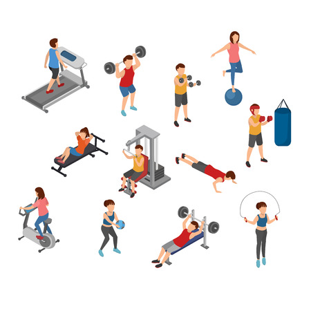 Isometric Gym, Workout, Physical Fitness, Vector Illustration
