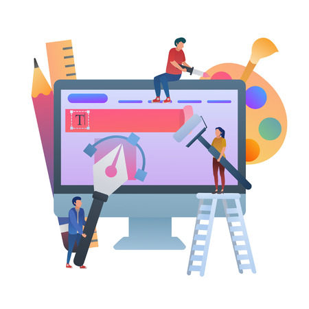 Concept of Designing Web, UI Designer. Flat Vector Illustration