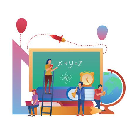 Basic Concept of Student Learning Together, Education Illustration Flat Design  イラスト・ベクター素材