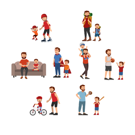 Happy Father And Son Playing Together, Having Fun, Father Day. Vector Cartoon Illustration