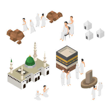 Conjunto de ilustración de Hajj, peregrinación en La Meca, infografía en vector plano isométrico