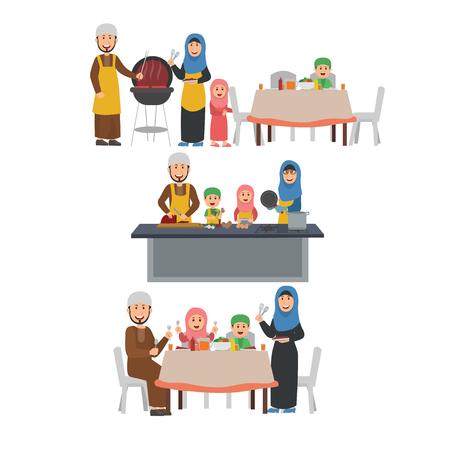 阿拉伯家庭准备烧烤派对,一起在厨房做饭,一起晚餐。平面向量插图