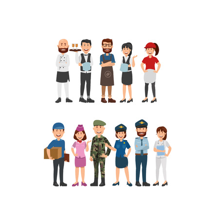 Group of People Differents Proffesion,Waiters, Police, Army, Nurse. Flat Vector Illustration