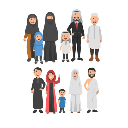 Happy Middle Eastern Moslem Family Together, Parents, Grandparents, and Childs. Flat Vector Illustration Vetores