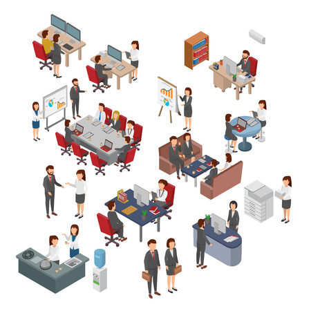 Set Of Isometric Office, Bussiness People Teamwork. Flat 3D Vector.jpg 向量圖像
