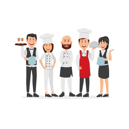 Ensemble de dessin animé de personnel de cuisine