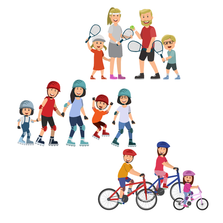 Set of Family Sport Cartoon, Tenis, Rollerskate And Bicycle