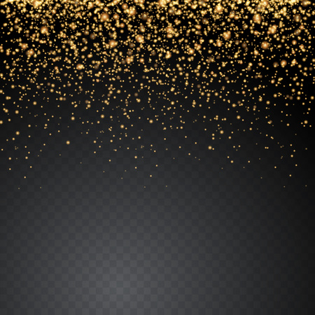 Vector gold glitter glow sparkling particles on transparent background