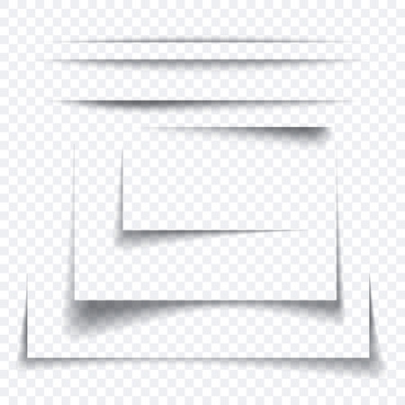 Set of realistic paper sheet shadow effect, transparant graphic element