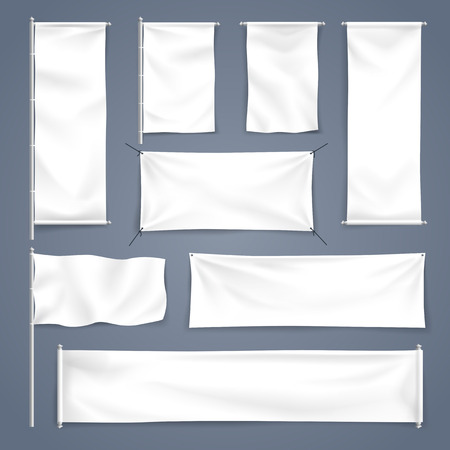Vector illustration White blank textile banner with folds for advertising mock up