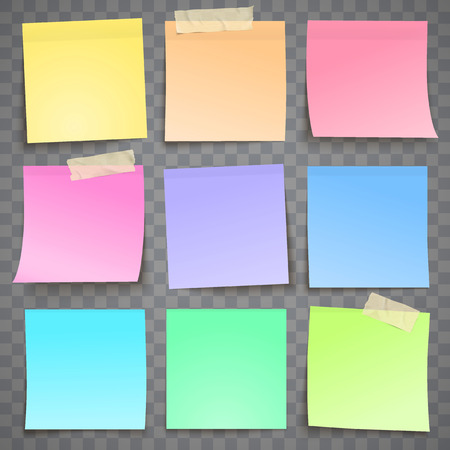 Colorful paper note with adhesive tape sticky sticker sheet isolated on grey background verctor illustration