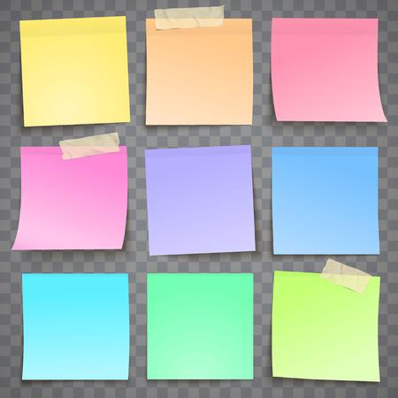Note de papier coloré avec feuille d'autocollant collant de ruban adhésif isolé sur illustration de verctor fond gris