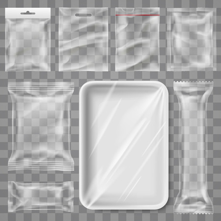 Transparent empty plastic packaging - snack product and food container branding mock up template design isolated background