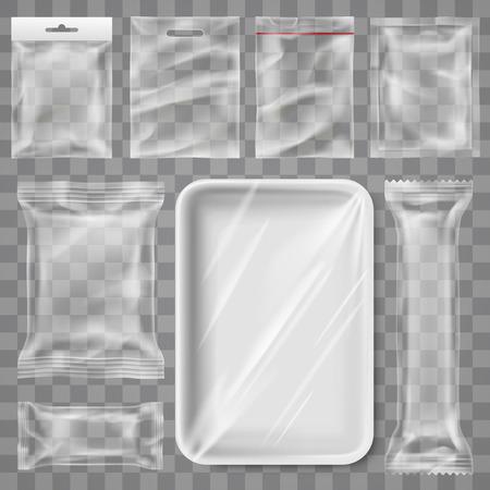 Transparente leere Kunststoffverpackung - Snackprodukt und Lebensmittelbehälterbranding verspotten Schablonenentwurf isolierten Hintergrund