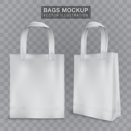 Realistic tote shopping bag mock up template for corporate identity isolated vector illustration on transparent background