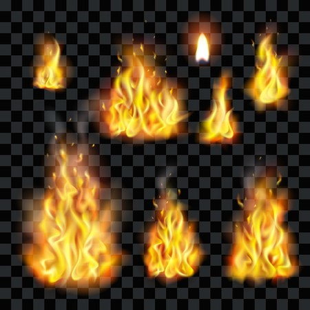 fire flame vector illustration with transparent background