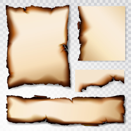 Burnt Paper scorched illustration isolated on transparent background Vettoriali