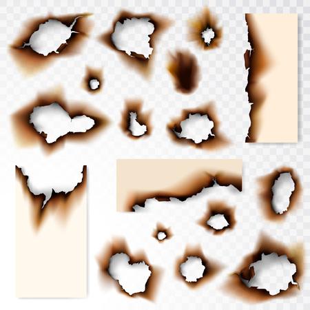 Sammlung von verbrannten Lochpapiervektorillustration auf transparentem Hintergrund